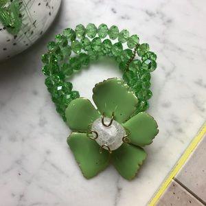 Mint Green Beaded Floral Crystal Fashion Bracelet